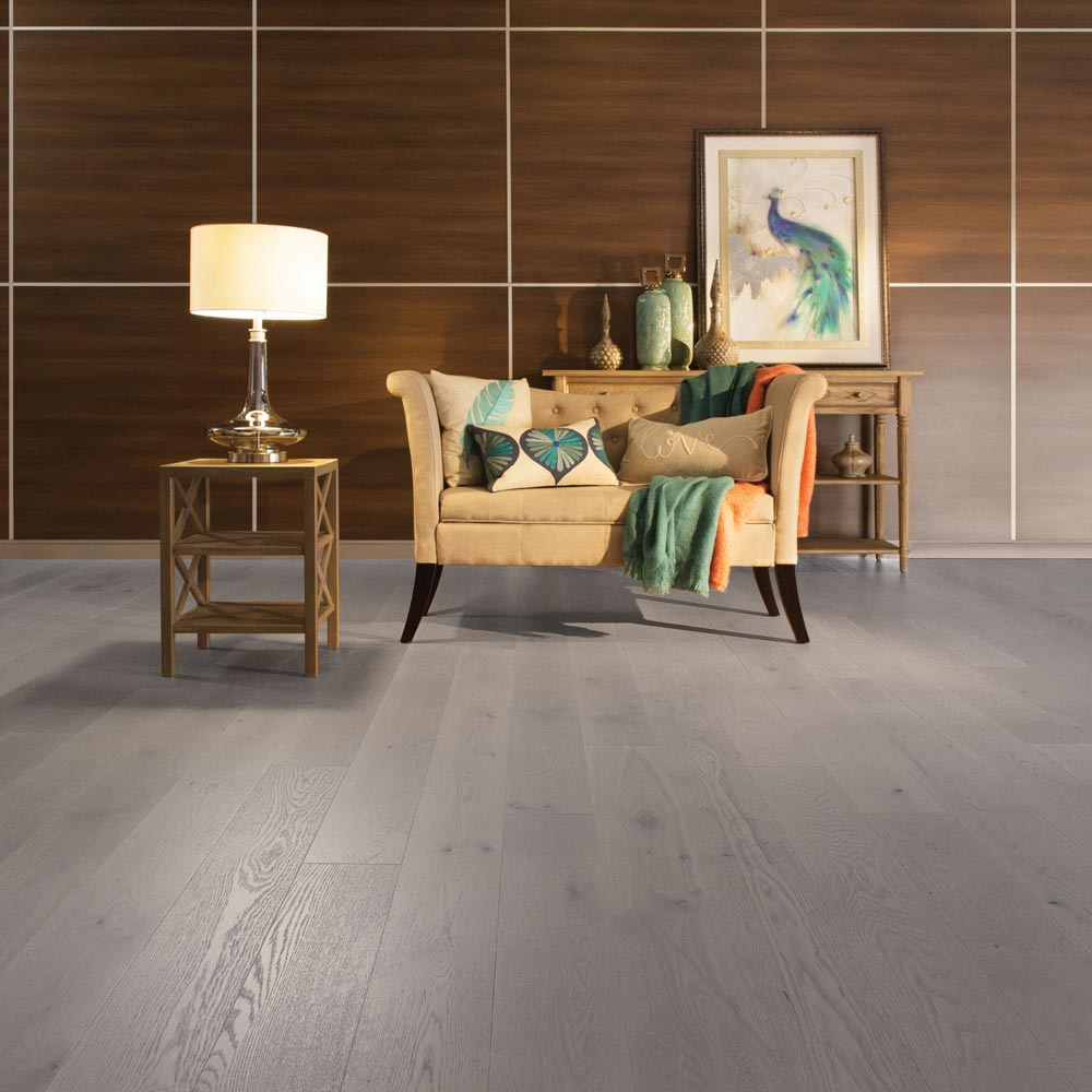 "White Oak Engineered Mirage 6-1/2"" Grey Drizzle Light Character"